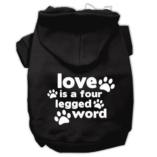 amar es una impresión pantalla cuatro pierna palabra hoodie