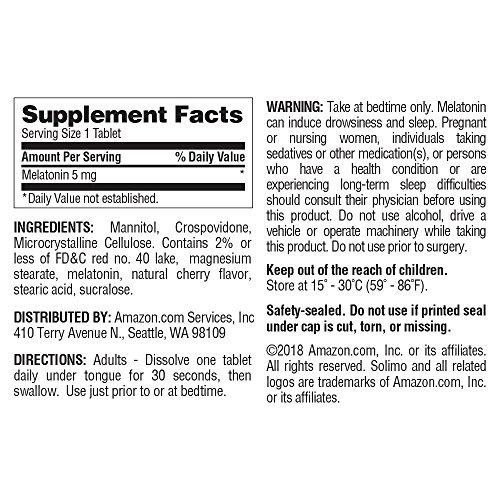 amazon marcasolimo rápido disolver melatonina 5mg,