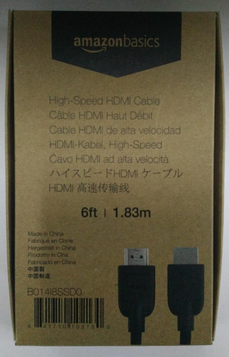 amazonbasics cable hdmi de alta velocidad 4k, 6 pies