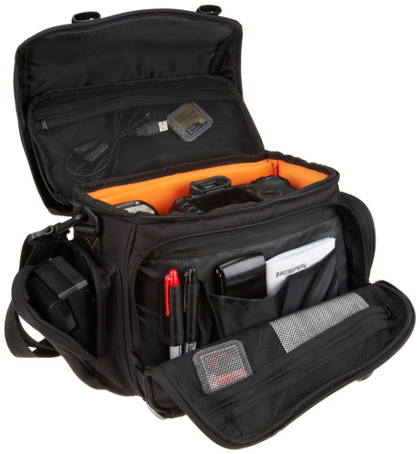 amazonbasics gran bolsa de gadgets dslr (interior naranja)