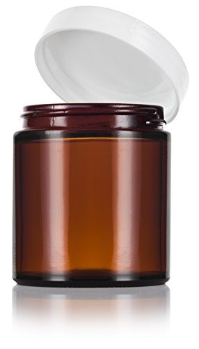 amber tarro de vidrio grueso de lados rectos con tapas blanc