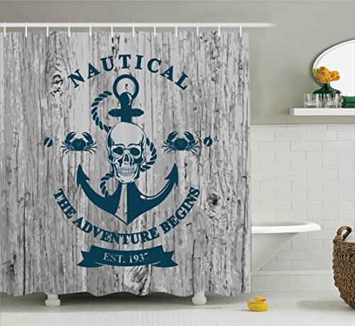ambesonne anchor decor set de cortina de ducha, arte con an