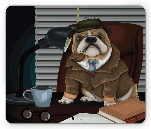 ambesonne bulldog inglés mouse pad, perro detective inglés t