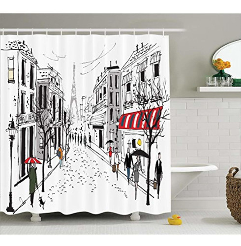 ambesonne juego de cortina ducha paris decor,