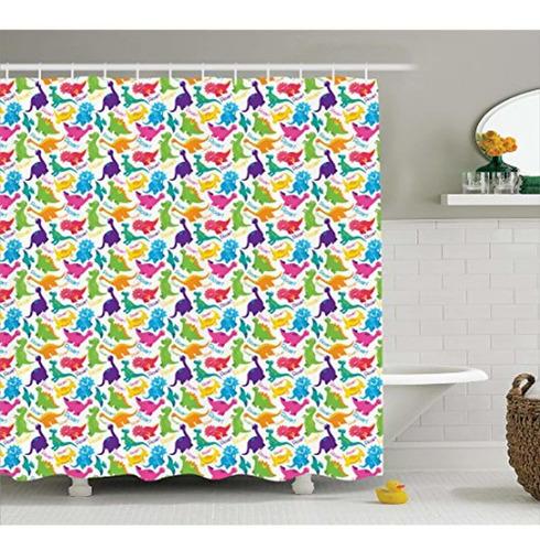 ambesonne jurassic decor cortina de ducha,