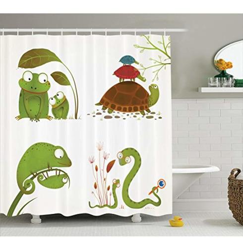 ambesonne reptil cortina de ducha, familia