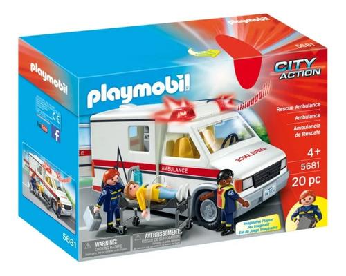 ambulancia con luz y accesorios city action playmobil 5681