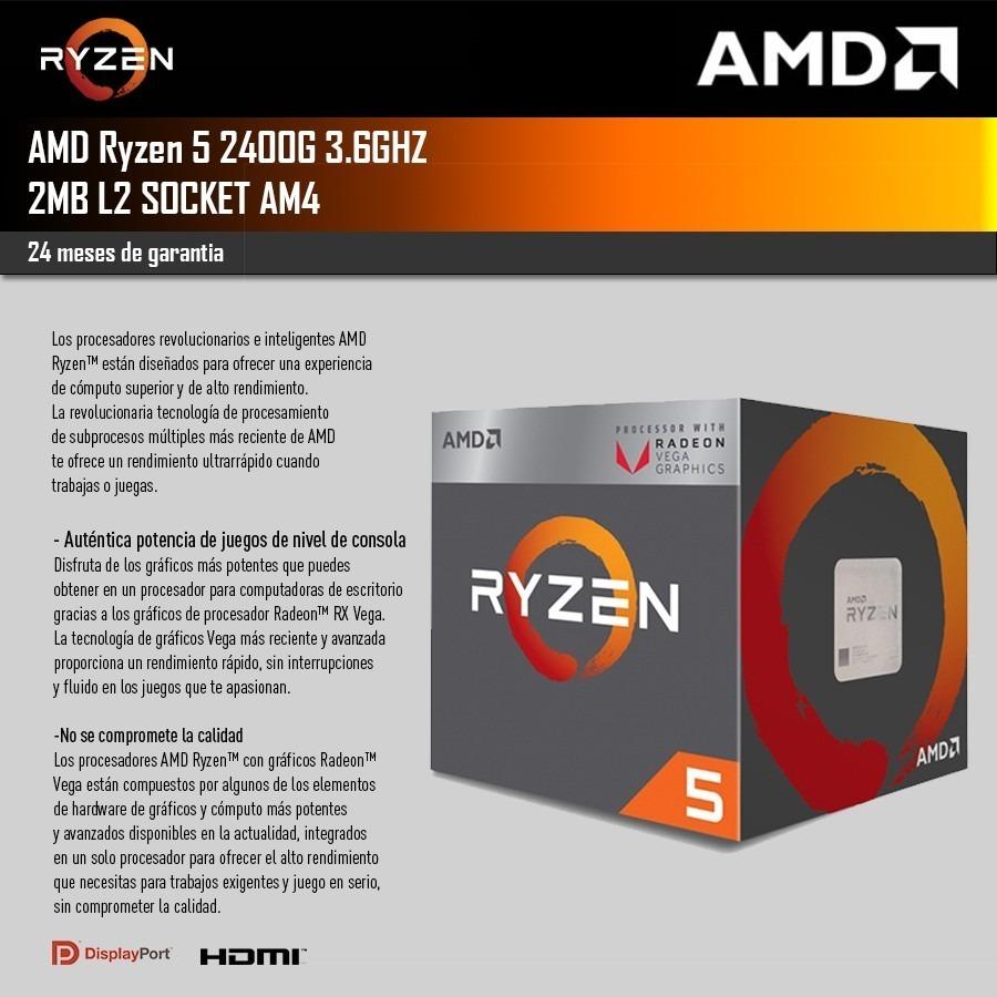 Amd Ryzen 5 2400g 3 9ghz Radeon Rx Vega 11 Garantia 620 000 En Mercado Libre