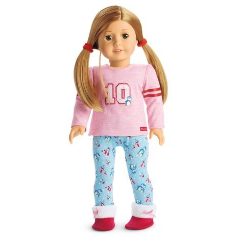 American Girl Kit Roupa Pijama Calca Blusa Sapato No