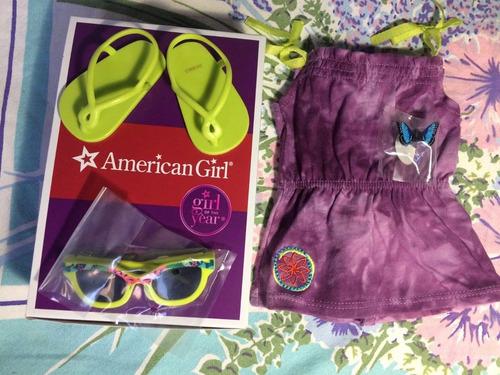 american girl lea traje de sol purpu p/muñeca original y new