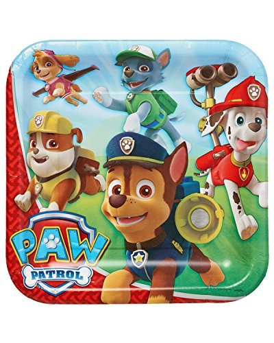 american greetings paw patrol square plate (40 count), 9 &q