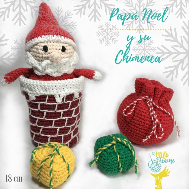 Amigurumi - Papá Noel Y Su Chimenea, Tejido Al Crochet, 18cm - $ 391 ...