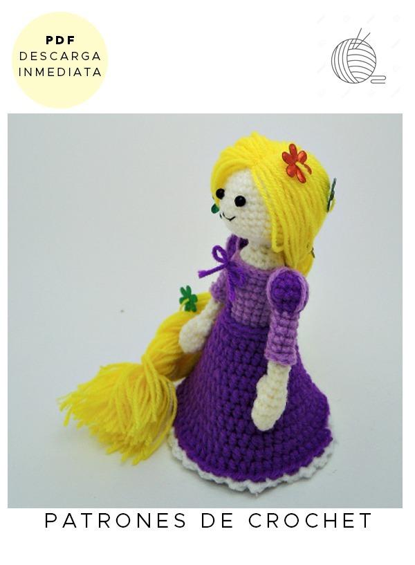 Amigurumi Rapunzel Disney Patrón Para Tejer Muñeco Ingles - $ 64,99 ...
