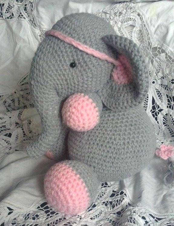 Elefante amarrador de cortinas - amigurumi | 746x575