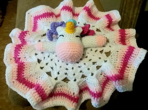 amigurumis: unicornio manta de apego regalo de nacimiento