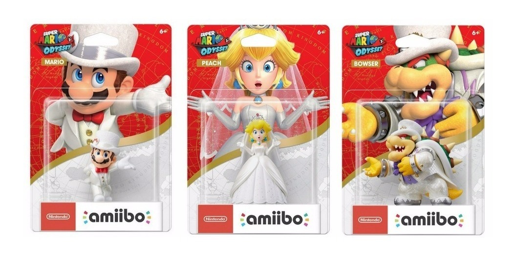 Amiibos Mario Odyssey Peach Bowser Wedding Outfit Switch 3ds