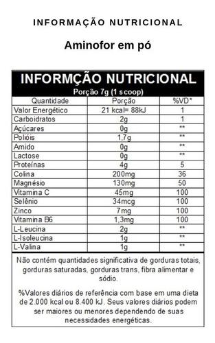 aminofor bcaa 2.1 em pó sabor limão 420g - vitafor