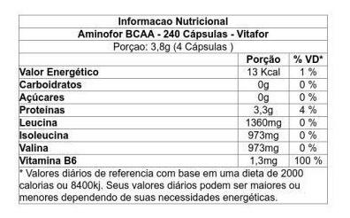 aminofor bcaa - 240 cápsulas - vitafor