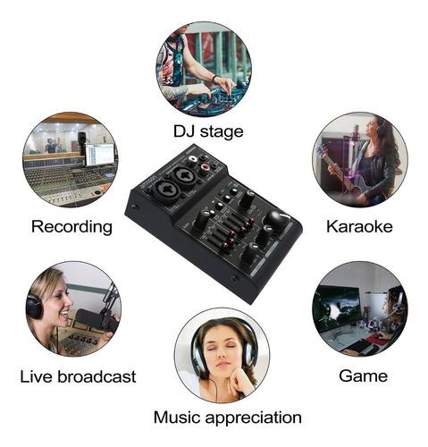 ammoon agm02 mini consola de mezcla de tarjeta de sonido de