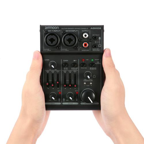 ammoon agm02 mini tarjeta de sonido de 2 canales consola mez