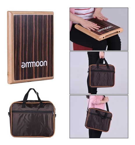 ammoon  compacto caja de viaje drum cajon tambor de mano