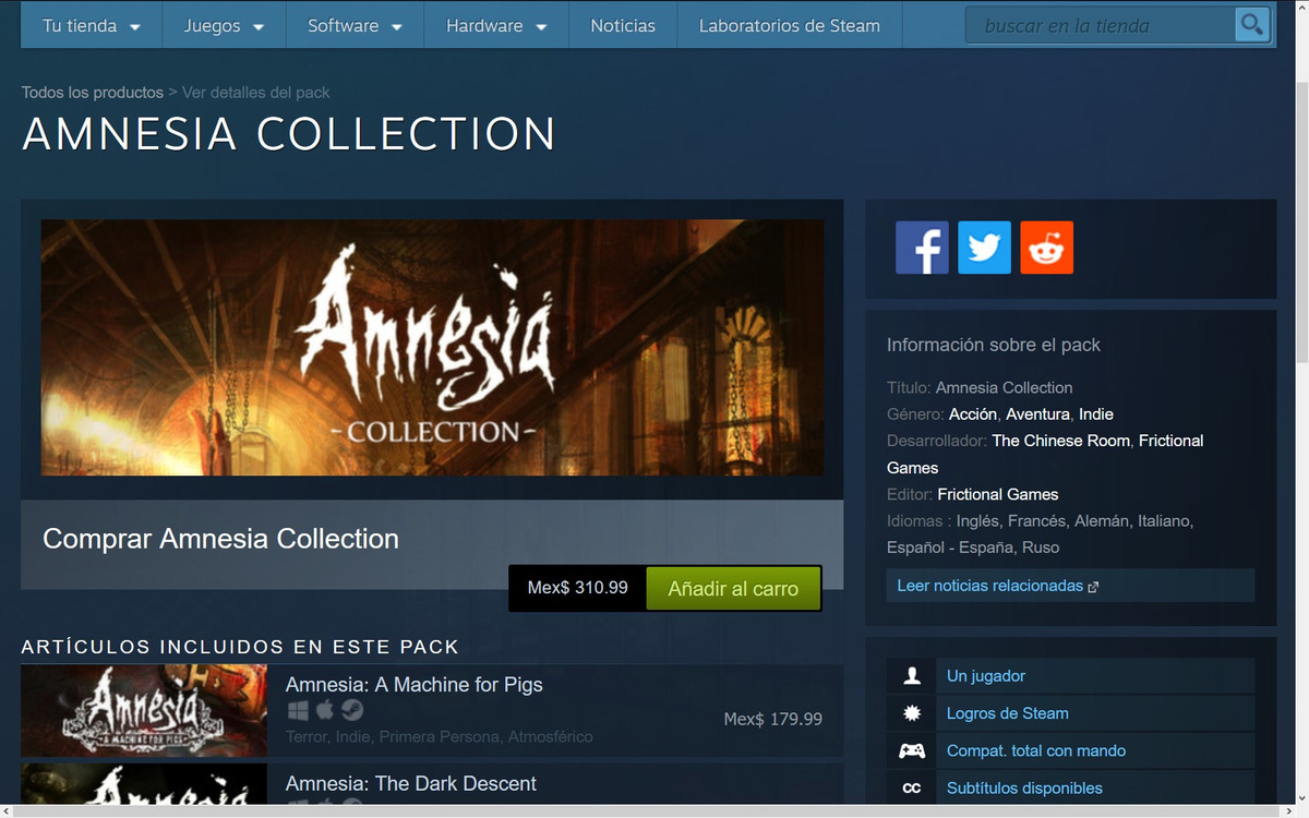 Amnesia Collection - Steam Key Global (leer Descripción)