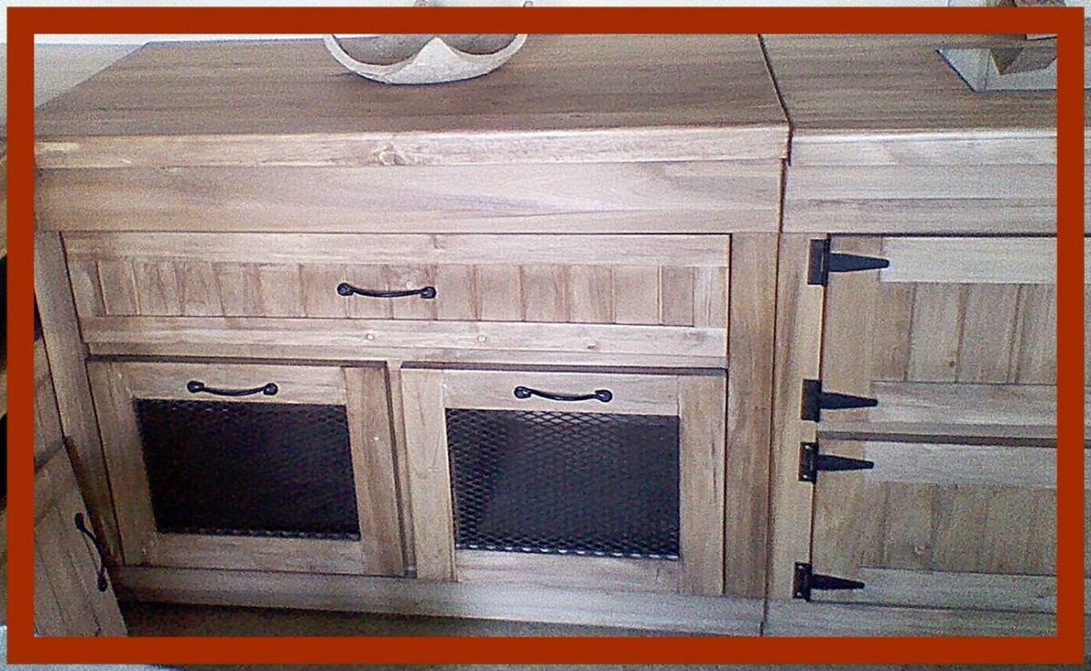 de cocina rustico bajo mesada y alacena alamo