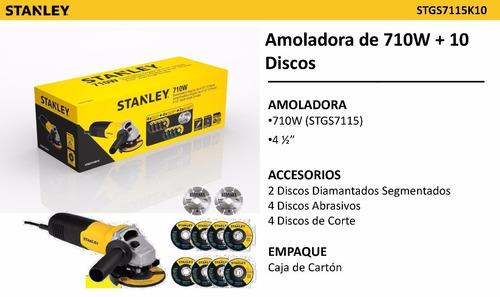 amoladora 115mm 710w + 10 discos stanley stgs7115k10