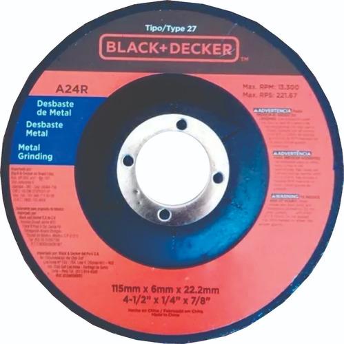 amoladora  115mm 820 w +  disco desbaste black&decker original dos años garantia