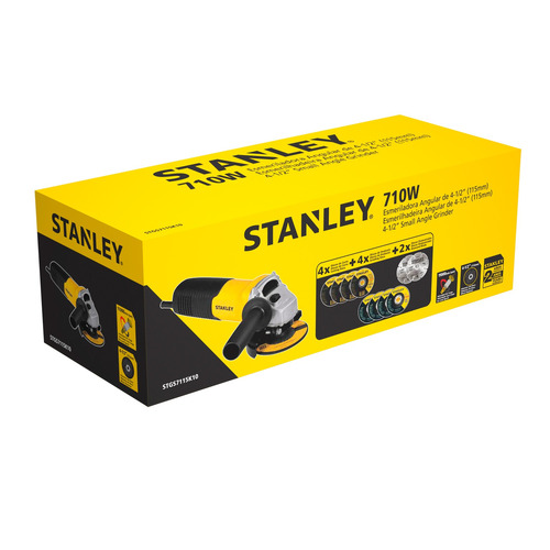 amoladora 710w 10 discos stanley stgs7115k10 stanley