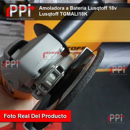 amoladora a bateria lusqtoff 18v 1.5ah + cargador + 6 discos