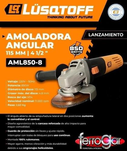 amoladora angular 115mm 850 watts lusqtoff + disco aml850