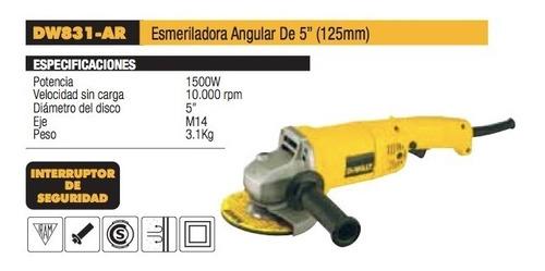 amoladora angular 125mm 1500w dewalt dw831 dewalt