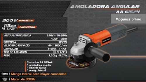 amoladora angular 4,5 pulgadas 115 mm 800w 12000 rpm aa 615