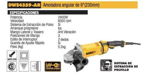 amoladora angular 9 pulgadas 230mm 2400w dewalt dwe4559 dewalt dwe4559-ar