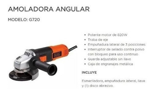 amoladora angular black decker 820w 115mm 4 1/2 gt720