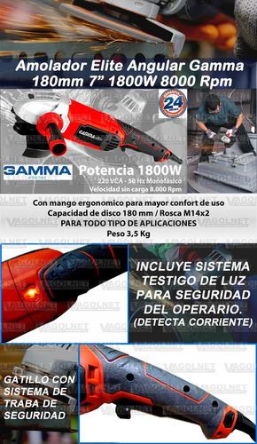 amoladora angular elite gamma 180mm 7 pulgada 1800w hg1909