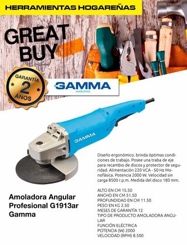 amoladora angular gamma 180mm 7 2000w g1913 versión nueva