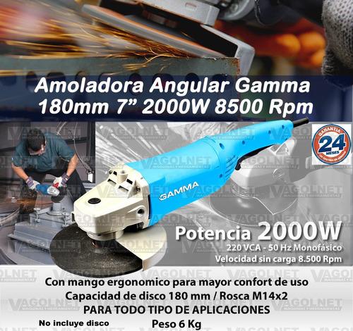 amoladora angular gamma 180mm 7 pulgadas 2000w mas potencia