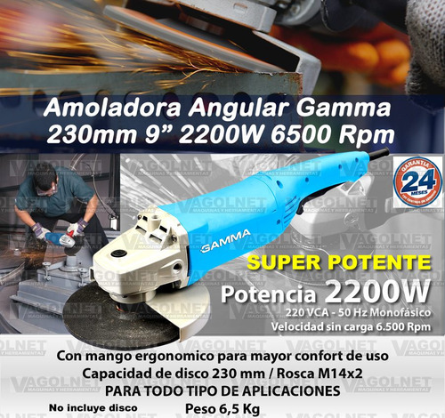 amoladora angular gamma 230mm 9 pulgadas 2200w linea 2019