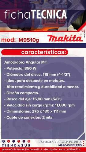 amoladora angular makita m9510g 115mm 850w
