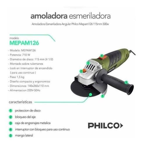 amoladora angular philco 710w 115mm + 10 discos de regalo