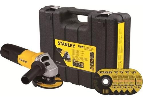 amoladora angular stanley 710w 115mm + 5 discos + maletin