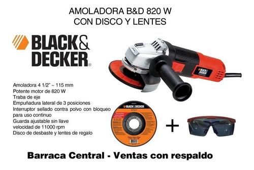 amoladora b&d 4½  820 w + lentes + disco - barraca central