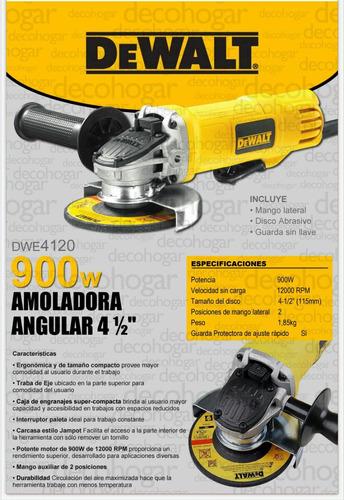 amoladora dewalt angular 115mm 4 1/2 pulgadas dwe4120-900wat