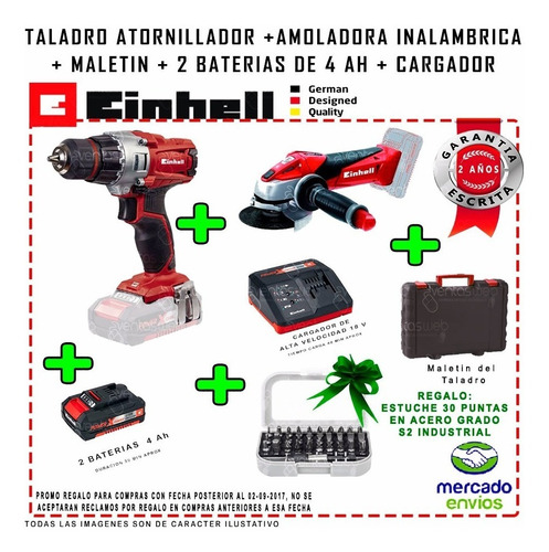 amoladora inalambrica einhell + taladro atornillador 2 bat 4
