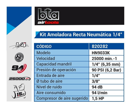 amoladora neumatica recta bta air  1/4 kit  maletin verashop