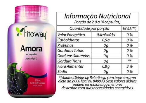 amora 500mg - controle da menopausa - fitoway - 60 cápsulas