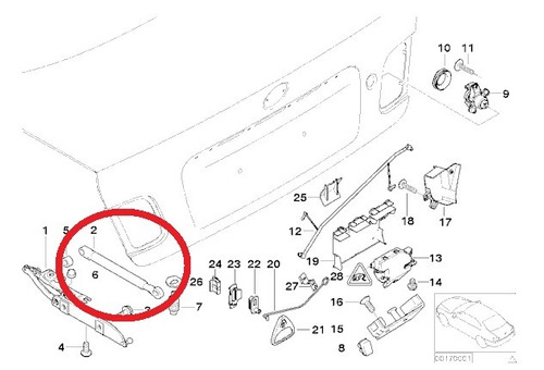 amortecedor da tampa traseira bmw 328i 2.8 24v 1998 a 2000