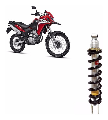 amortecedor de moto xre 300 cromado com mola far rafaela